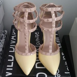 Wild Diva Multi Studs Ankle Strap Stilleto Heels